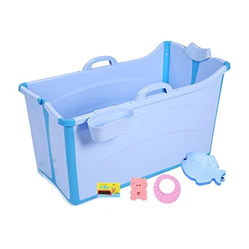 Bañera Plegable Materiales De PP Y TPE PortÁTil Piscina Viajar con Niños Grande Piscina para Niños Familiares EcolÓGico Bañera(Azul, Rosa)