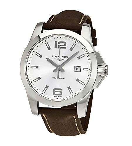 Longines Conquest Silver Dial Brown Leather Men's 43mm Watch L37604765