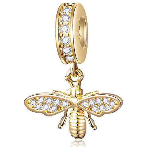 Sparkling Queen Bee Charms Gold Plated 925 Sterling Silver Dangle Charms Insects Garden Charm Beads Clear CZ Compatiable with Pandora Charms Bracelet Necklace Gifts for Women/Wife/Mother/Sister