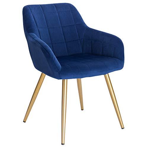 WOLTU® Esszimmerstuhl BH232bl-1 1 Stück Küchenstuhl Polsterstuhl Wohnzimmerstuhl Sessel mit Armlehne, Sitzfläche aus Samt, Gold Beine aus Metall, Blau