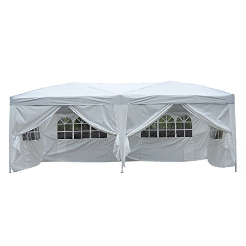 Outsunny Carpa 6x3m Plegable en Acordeon 4 Paneles Laterales 2 Cortinas +Bolsa Transporte Blanco