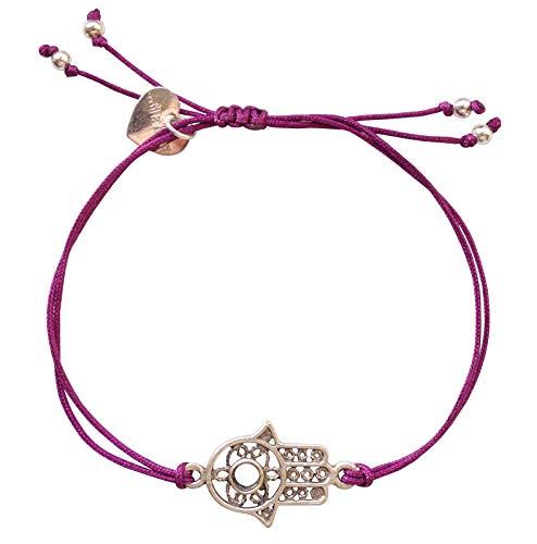 Smilla Brav® Hamsa Damen-Armband Hand der Fatima-Damen-Schmuck - lila/Silber - Chakra Glücksarmband TS31
