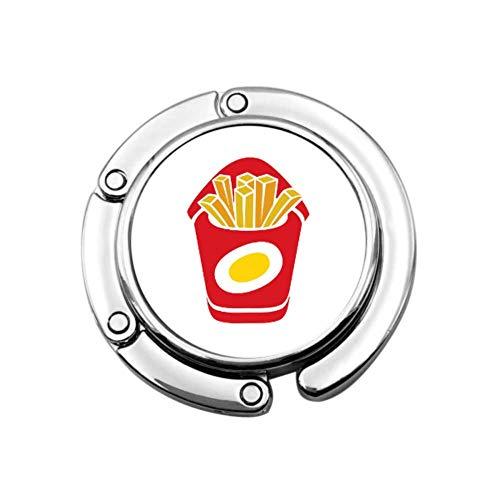 Dibujos Animados de Comida rápida Papas Fritas Gancho para Bolso Colgador para Mesa Bolsa Gancho Colgador Diseños únicos Sección Plegable Almacenamiento Oficina Monedero Colgador