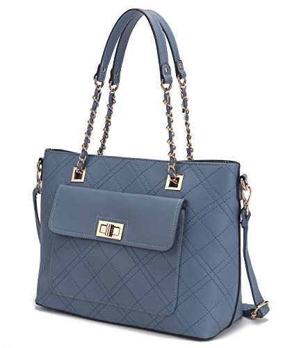 Mia K. Collection Crossbody Bag for Women Purses and Handbags, Shoulder Strap, Signature, PU Leather Top-Handle Satchel Tote Demin
