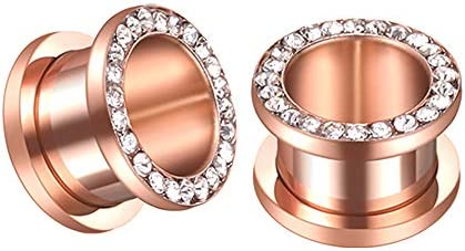 Rose Gold Plated Crystal Rhinestones CZ Ear Tunnels Plugs Expander Gauges Stretcher Earrings product image
