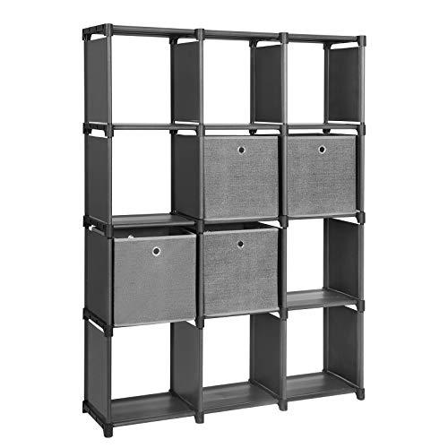 SONGMICS DIY Steckregal mit 4 Stoffboxen 12 Würfel Aufbewahrungssystem multifunktionales Bücherregal Schuhregal mit robustem Metallrahmen Gummihammer 105 x 140 x 30 (B x H x T) schwarz LSN34BK