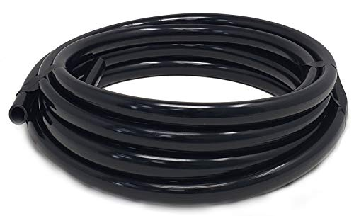 Sealproof 1/2 Inch Vinyl Pond Tubing, 20 FT, Black, Made in USA, UV Resistant, Fish Safe