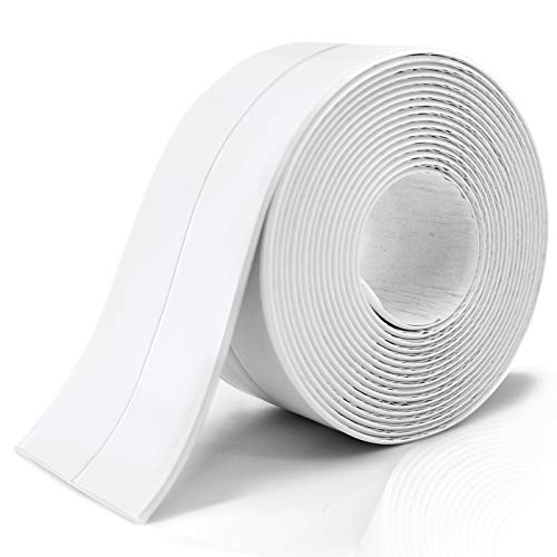 Caulk Strip, PE Self Adhesive Caulk Strip Sealing Tape for Bathtub, Caulk Tape Caulking Sealing Tape for Kitchen Countertop, Bathroom, Toilet, Bathtub Floor Wall Edge Protector, 1.5' x 11Ft (White)