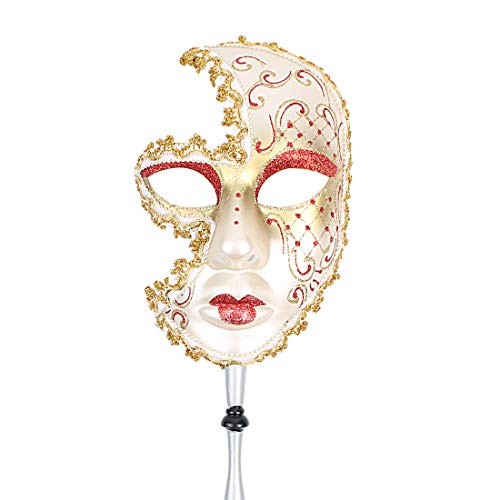 Hophen Hand Held Venetian Masquerade Mask on a Stick Halloween Mardi Gras Party Carnival Mask Prom (Red Lip)