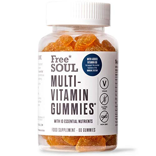 Multivitamin Gummies - High Strength for Adults | All Essential Vitamins & Minerals Including Vitamin D, C, E, B12, B6, A, Folic Acid and More | Vegan, Vegetarian, Gluten Free | 60 Free Soul Gummies