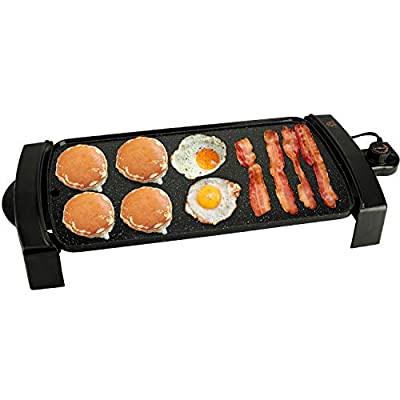"""ATGRILLS Electric Griddle 10""""x21"""" Nonstick Skillet Everyday Use Indoor/Outdoor BBQ Grill Party Smokeless Griddle Pan 1200W, Handmade Stone-Derived, Black"""