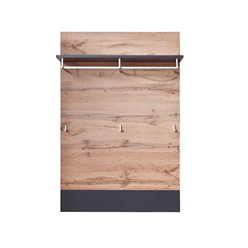 trendteam Garderobe Gardrobenpaneel Wandpaneel Coast, 84 x 128 x 25 cm in Wotan Eiche Dekor, Absetzung Grau  mit 1 Kleiderbügel, einer Kleiderstange und 3 Kleiderhaken