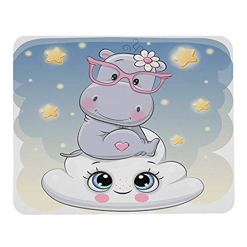 Wozukia Hippo Mouse Pads Cute Cartoon Hippo is Sitting on The Smiling Cloud Happiness Animal White Gray Blue Office Accessories Modern Mouse Pad Personalized Mouse Mat Cubicle Decor 9.5'x7.9' Inch