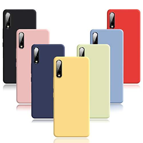 Meeter Hülle für Oppo Find X2 Neo, 7 x Schutzhülle Silikon Ultra Dünn Handyhülle Matte Oberfläche Handyhülle Schmaler Tasche TPU Bumper Handy (Schwarz+Blau+Taubenblau+Grün+Gelb+Rot+Rosa)