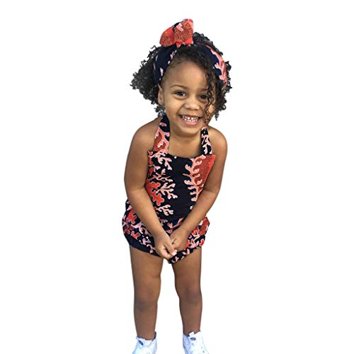 Julhold kleine kinderen baby meisjes zomer African print mouwloos rompers haarband body polyester kleding 0-4 jaar