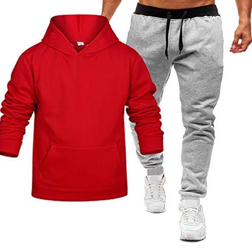 Conjunto de suéter de color puro para hombre, con capucha, rojo, XL