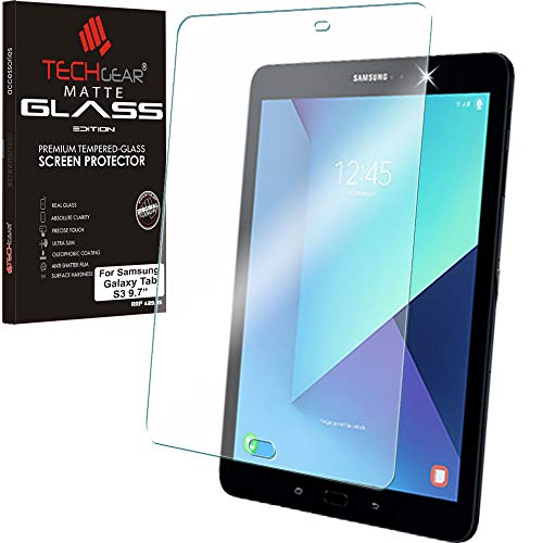 TECHGEAR Matt Panzerglas kompatibel mit Samsung Galaxy Tab S3 9,7 (SM-T820 Serie) - Matte Blendschutz Panzerglas Auflage, Original-gehärtetes Glas-Bildschirmschutzfolie