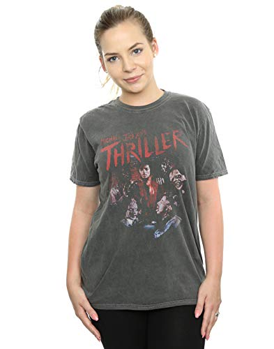 Absolute Cult Michael Jackson Mujer Thriller Ghouls Camiseta Lavada Novio Fit Carbón Small