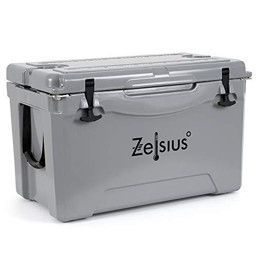 Zelsius Kühlbox 50 Liter | Coolbox | Tragbare Cooling Box ideal für Auto Camping Urlaub Angeln Freizeit Outdoor | Thermobox für Warm und Kalt (grau)