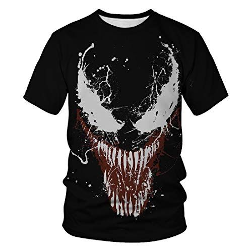 Camiseta de verano para hombre con cuello redondo, manga corta, impresión digital 3D, estilo casual, Fashion Hero Venom Serie, Negro , XXL