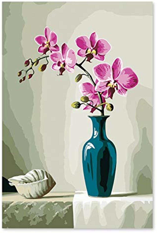 Superlucky Digitales Ölgemälde von Phalaenopsis Vase Glasflasche Keramik Pfirsich rote Blütenblätter 40x60cm mit Rahmen B07K4H9YN9 | Feinen Qualität