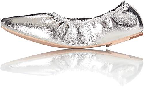 find. Ballerinas Damen aus Leder, mit elastischem Bund, Schwarz (Black), 16 (Herstellergröße: X-Large), Silber (Silver), 37 EU