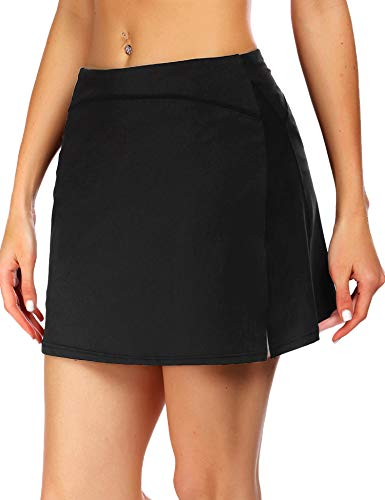 ADOME Women's Athletic Skort Tennis Skirt with Pockets Shorts Active Golf Running Workout Sports Black