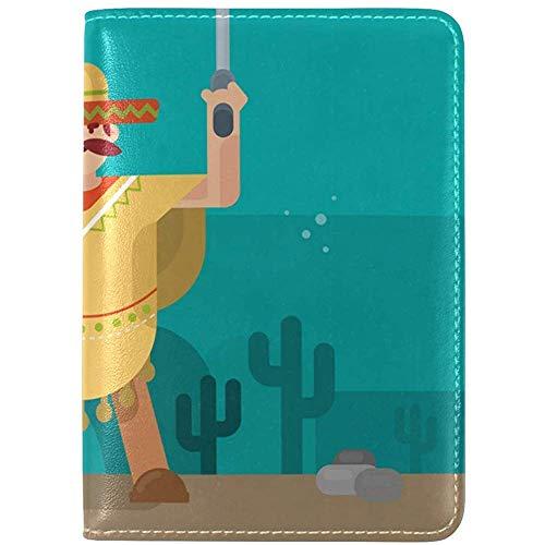 Mann im Poncho aus echtem Leder UAS Pass Inhaber Cover Travel Case