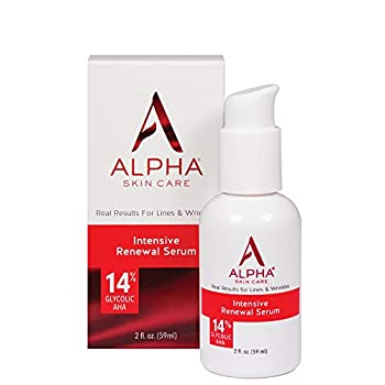Alpha Skin Care Intensive Renewal Serum | Anti-Aging Formula | 14% Glycolic Alpha Hydroxy Acid  AHA  | Reduces the Appearance of Lines & Wrinkles | For All Skin Types | 2 Oz