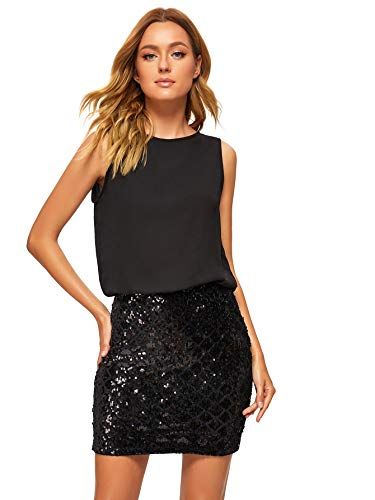 Romwe Women's Sexy Layered Look Fashion Club Wear Party Sparkle Sequin Tank Dress Black S