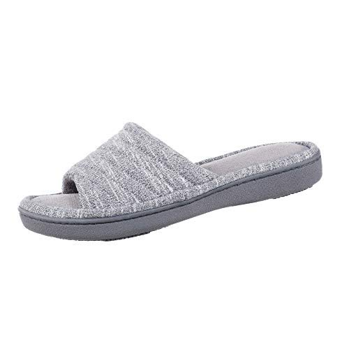 isotoner Women's Space Knit Andrea Slide Slippers, Ash, 9.5-10