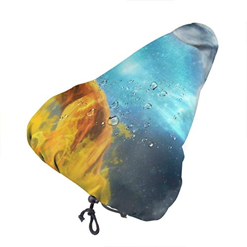 Enoqunt Bike Seat Cover Fire Wolf Vs Ice Wolf Cover Bike Universal Gel Seat Cushion Cover Protective Bicycle Saddle Cover