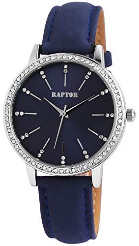 Raptor Damen-Uhr Echt Leder Armband Strass Glitzer Elegant Analog Quarz RA10176 (blau)