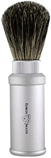 Matte Silver Badger Travel Shave Brush by Edwin Jagger