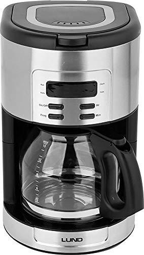 LUND Kaffeemaschine Kaffeeautomat 1,8 L Timer Warmhalteplatte Glaskanne 12-15 Tassen Filterkaffeemaschine Display