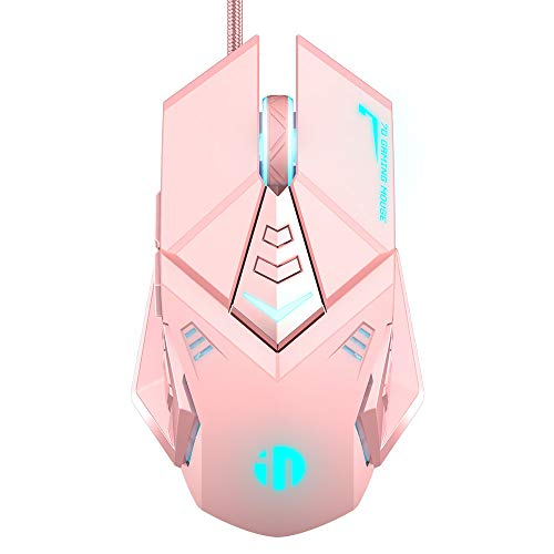 Pink Gaming Mouse, Silent Click, 4800DPI Adjustable & 7 Programmable Buttons, RGB Backlight, Lovely Pink Design with Ergonomics, Inphic USB Wired Mouse for PC Laptop Computer Working and Gaming