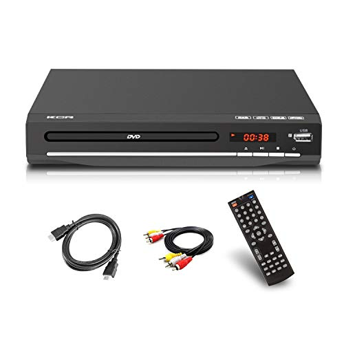 Reproductor de DVD para TV, DVD / CD / MP3 / MP4 con toma USB, salida HDMI y AV (cable HDMI y AV incluido), mando a distancia...