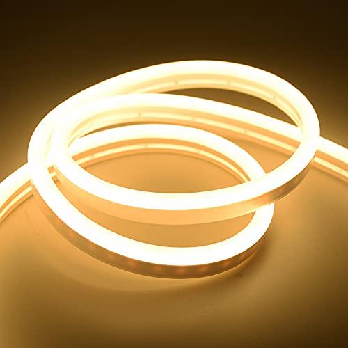 Cinta de neón LED de 12 V CC SMD 2835 suave cuerda de barra de luz 120 LEDs/M tubo de goma de silicona para exteriores e iluminación impermeable (color emisor: blanco cálido, longitud: 3 m)