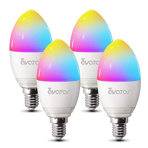 Alexa Lampen E14, Wlan Glühbirnen 5w 2800K-3200K Dimmbar Birne Kein Hub Erforderlich Kompatibel mit Google Home by Avatar Controls, auf NUR 2.4 GHz Netzwerk(4 Pack)