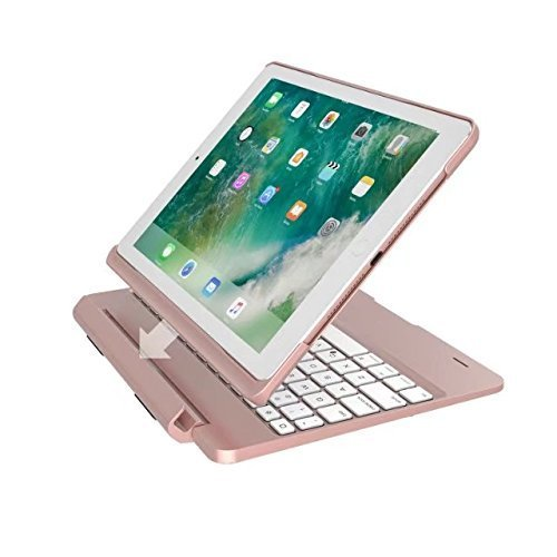 9.7'' Keyboard Cover for iPad air 2, TechCode 7 Color Backlit Detachable Smart Keyboard Case Slim Fit Folio Back Cover with Wireless Bluetooth Keyboard for iPad Air 2 9.7 Inch, Rose Golden