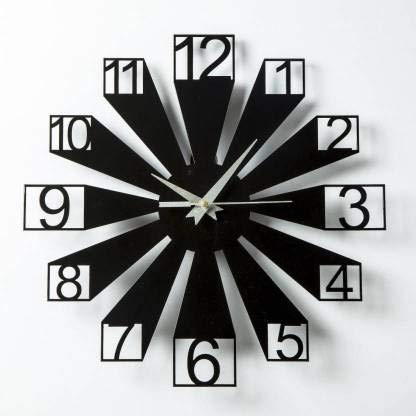 Naraniya Creation Wood Designer Wall Clock (Black)