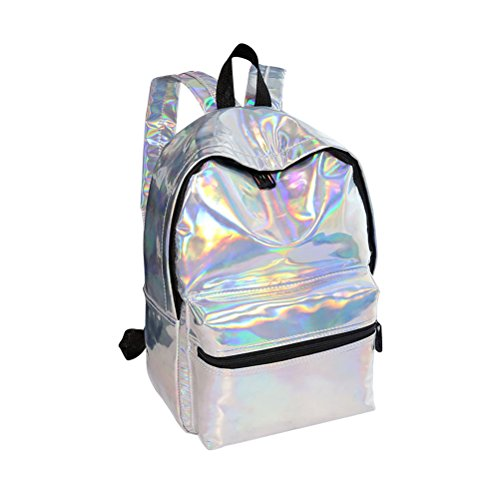 Tinksky Girl Sliver Holographic Laser PU Pelle Scuola Zaino Travel Casual...