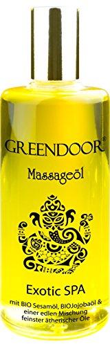 PREMIUM Massageöl Greendoor Exotic SPA 100ml, BIO Sesamöl und BIO Jojoba, naturrein, natürlich ohne Tierversuche, Natur Massage Erotic pur, Naturkosmetik natural, Geschenke