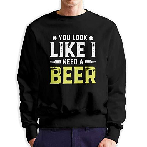 Top Groothandel Je ziet eruit alsof ik een bier nodig heb mannen Crew Neck Sweatshirt Medium Dikte Sweater voor Mannen