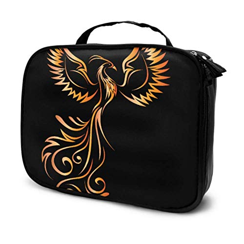Asiatique Phoenix Fire Bird Travel Cosmetic Bag for Women Makeup Cases Makeup Pencil Case Multifunction Printed Pouch for Women