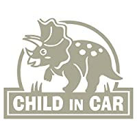 imoninn CHILD in car ステッカー 【シンプル版】 No.72 トリケラトプスさん (グレー色)