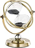 SuLiao Hourglassr 60 Minute Sand Time,Large Antique Rotating Black Sand Clock,Metal Sand Watch 60 Min,Vintage Reloj De Arena,Brass 1 Hour Glass Sandglass for Gifts, Home, Desk, Office Decor