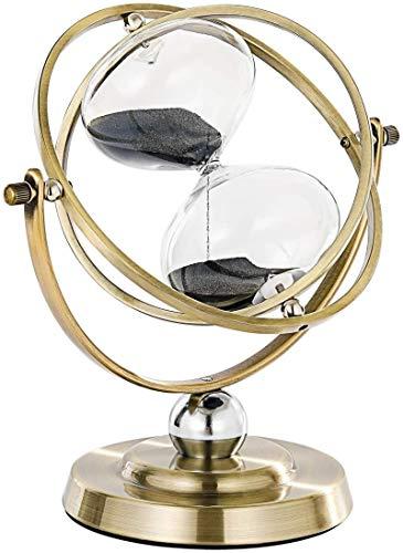 SuLiao Große Messing-Sanduhr 60 Minuten, antike, rotierende schwarze Sanduhr, Vintage Reloj De Arena, Metall-Sanduhr 60 Min, Einheit 1 Stunde Glas Sandglas für Geschenke, Zuhause, Schreibtisch, Dekor