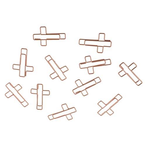 harayaa 10x Clips de Papel de Metal en Forma de Cruz Abrazadera para Documentos Papelería de Oficina