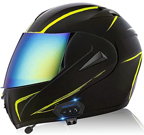 YLXD Casco De Moto Modular Bluetooth Integrado Cascos con Función De Respuesta Automática con Gafas De Protección Solar Dual con Certificación Dot/ECE Masculinos Y Femeninos I,XS